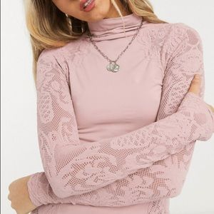 Free People No Turning Back lace panel jersey top in pink
